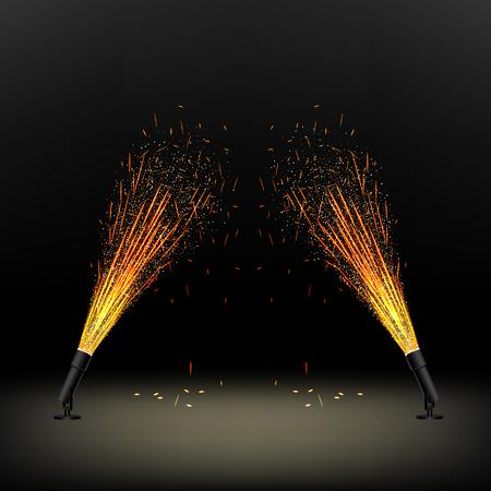 installazione per una fontana del fuoco, fuochi d'artificio, decorazione di scenari