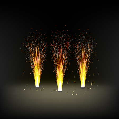installation for a fire fountain, fireworks, scenery decoration Illustration