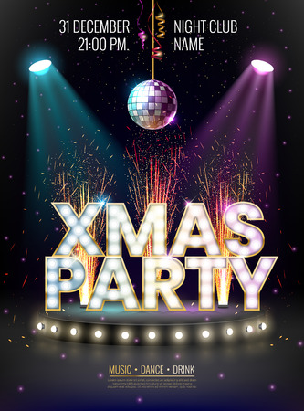 Xmas party glowing letters with light bulbs and a gold outline. Night party poster, greeting card, template for your design projects