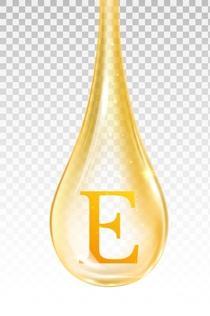 Drop oil, vitamin E. Isolated vector illustration