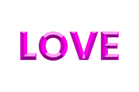 The word Love is depicted in a modern faceted font. Lettering love