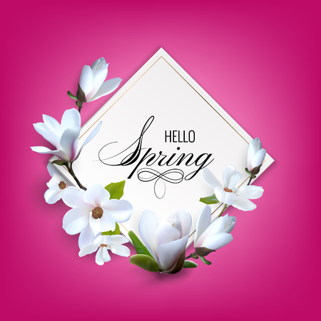 Greeting card with magnolia flowers, wedding booklet with decoration flowers. Hello srping