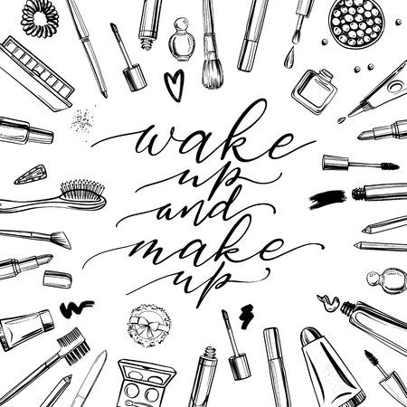 Sfondo di cosmetici in bianco e nero con scritte svegliati e truccati. Set di cosmetici decorativi disegnati a mano