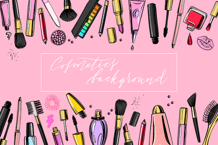 ?osmetics background with copy cspace for text. Hand drawn decorative cosmetics set Ilustração