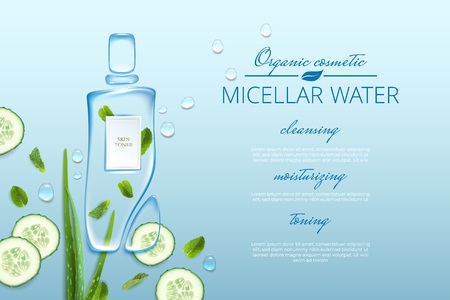 Original advertising poster design with water drops and liquid packaging silhouette for catalog, magazine. Cosmetic package.Moisturizing toner, micellar water with aloe vera extract, cucumber, mint. Ilustração