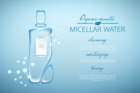 Original advertising poster design with water drops and liquid packaging silhouette for catalog, magazine. Cosmetic package.Moisturizing toner, micellar water hyaluronic acid
