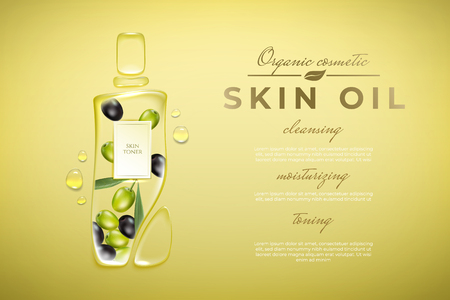 Original advertising poster design with water drops and liquid packaging silhouette for catalog, magazine. Olove oil cosmetic package.Bady olive oil ads