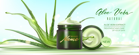 Design advertising poster of cosmetic product for catalog, magazine. Design of cosmetic package with aloe vera plant and water splash.Moisturizing cream, gel, body lotion with aloe vera extract.