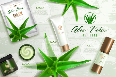 Design advertising poster of cosmetic product for catalog, magazine. Design of cosmetic package with aloe vera plant .Moisturizing cream, gel, body lotion with aloe vera extract.  イラスト・ベクター素材