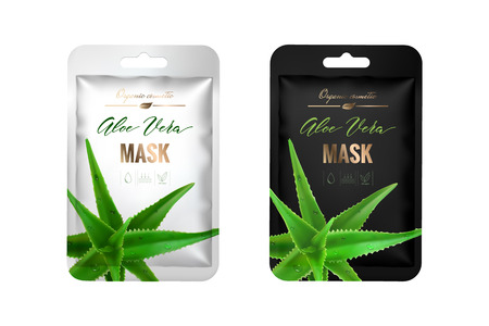 Realistic, 3d, silver and black foil pouch. Packaging design cosmetics. Mock up package for mask, shampoo, food