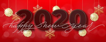Holidays Background for Merry Christmas and Happy New Year greeting card. Lettering Happy New Year Ilustração