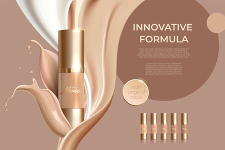 Advertising poster for cosmetic product for catalog, magazine. Design of cosmetic package. Advertising of foundation cream, concealer, base, BB cream. Realistic creamy texture Ilustração