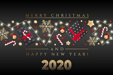 Holidays Background for Merry Christmas and Happy New Year greeting card with Christmas lights, gold stars, snowflakes, gift box
