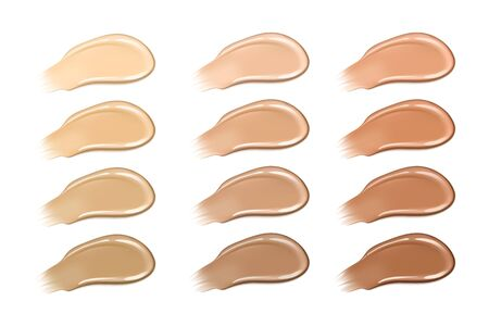Palette of shades of foundation Realistic creamy texture