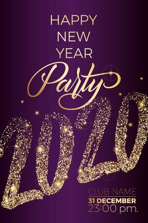 Happy new year party flyer with golden lettering 2020