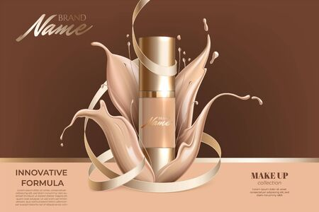 Advertising poster for cosmetic product for catalog, magazine. Design of cosmetic package. Advertising of foundation cream, concealer, base, BB cream. Realistic creamy texture Illustration