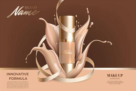 Werbeplakat für kosmetisches Produkt für Katalog, Zeitschrift. Design der Kosmetikverpackung. Werbung für Foundation-Creme, Concealer, Base, BB-Creme. Realistische cremige Textur