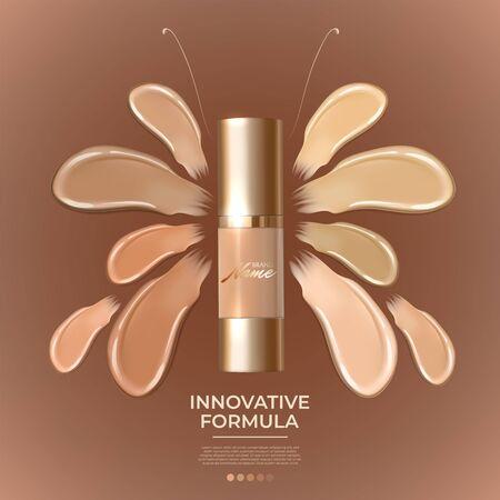 Cartel publicitario de producto cosmético para catálogo, revista. Diseño de paquete cosmético. Publicidad de base de maquillaje, corrector, base, BB cream. Textura cremosa realista Logos