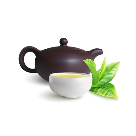 Clay teapot and teacup for Chinese tea ceremony. Green tea leaves