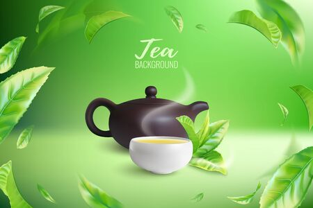 Advertising poster of green or black tea with a clay teapot and a cup. Green tea leaves