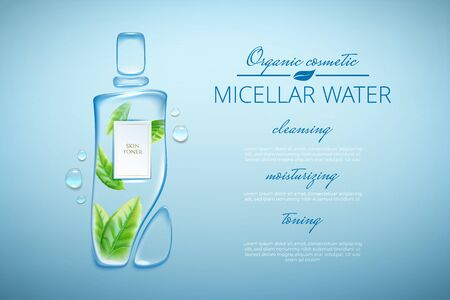 Original advertising poster design with water drops and liquid packaging silhouette for catalog, magazine. Cosmetic package.Moisturizing toner, micellar water with green tea extract