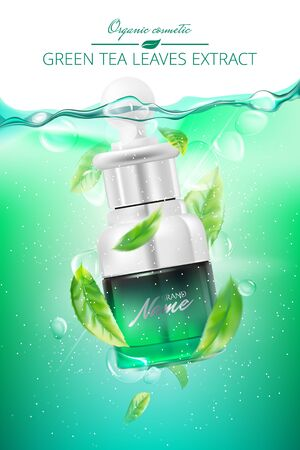 Advertising poster for cosmetic product for catalog, magazine. Design of cosmetic package. Water background with bubbles. Toner, cream, gel, body lotion with mint leaves extract . Ilustração