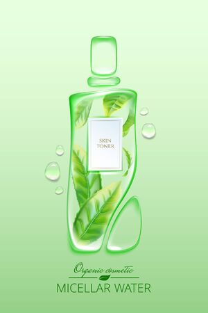 Original advertising poster design with water drops and liquid packaging silhouette for catalog, magazine. Cosmetic package.Moisturizing toner, micellar water with green tea extract Banque d'images - 131079343
