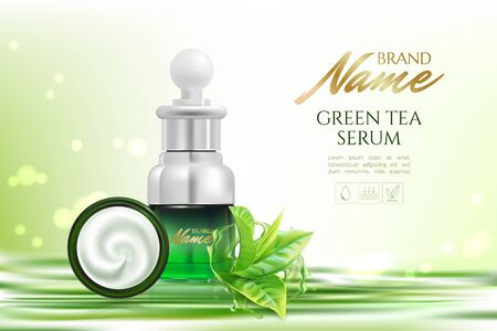 Advertising poster for cosmetic product for catalog, magazine. Vector design of cosmetic package.Moisturizing cream, gel, body lotion with green tea extract . Vector illustration with isolated objects Imagens - 131079344