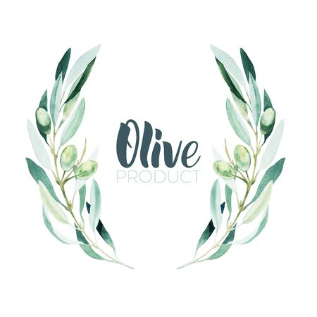 Watercolor olive branch. Sketch of olive branch on white background Stok Fotoğraf