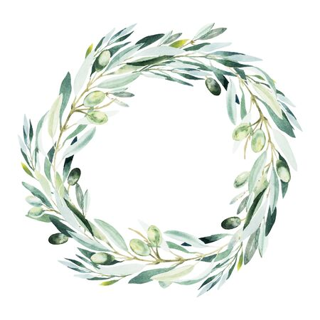Watercolor olive wreath. Sketch of olive branch on white background.