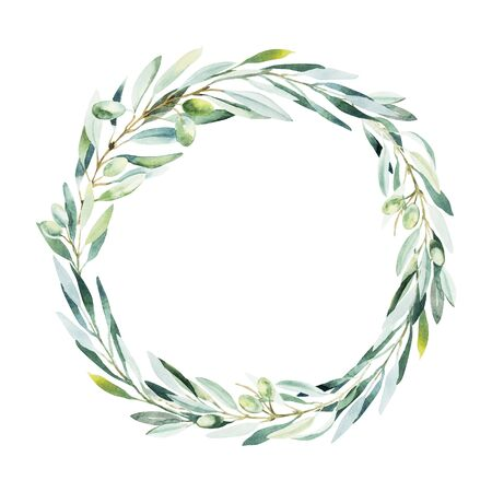 Watercolor olive wreath. Sketch of olive branch on white background. Imagens - 131079014