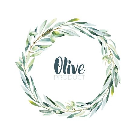 Watercolor olive wreath. Sketch of olive branch on white background. Olive oil lettering by brushpen. Imagens