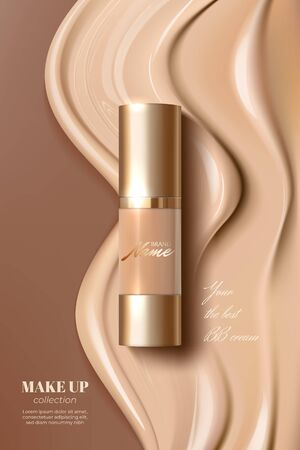 Advertising poster for cosmetic product for catalog, magazine. Design of cosmetic package. Advertising of foundation cream, concealer, base, BB cream. Realistic creamy texture Çizim