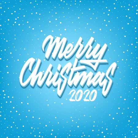 Merry Christmas greeting postcard with unique 3d lettering Merry Christmas for your projects.