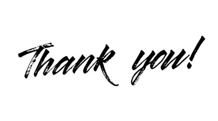 Lettering thank you wrote by brush. Thank You calligraphy. Çizim