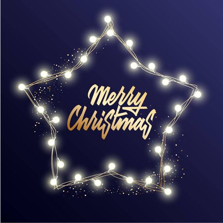 Holidays Background for Merry Christmas greeting card with a light garland and lettering Merry Christmas and Happy New Year.