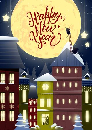 Merry Christmas and Happy New Year card with lettering and a fabulous city, houses decorated with garlands, funny mice