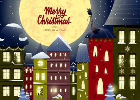 Biglietto di buon Natale e felice anno nuovo con scritte e una città favolosa, case decorate con ghirlande, topi divertenti Vettoriali