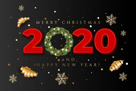 Holiday's Background for Merry Christmas greeting card with a realistic colorful garland of pine tree branches, decorated with Christmas lights, gold stars, snowflakes Imagens - 131079465