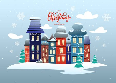 Merry Christmas and Happy New Year card with lettering and a magic city, houses decorated with garlands Çizim