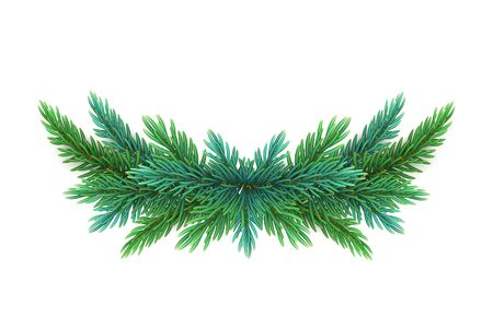 A realistic, detailed New Years wreath of pine tree branches to create postcards, banners for the site. Realistic xmas decoration elements. Çizim