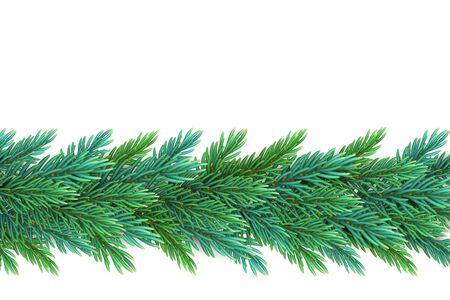 A realistic, detailed New Years garland made of pine tree branches to create postcards, banners for the site. Realistic xmas decoration elements.