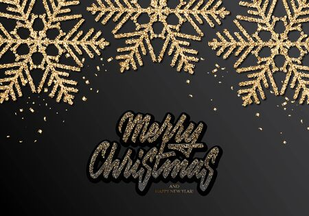 Holidays Background for Merry Christmas greeting card with a glitter snowflakes and lettering Happy New Year and Merry Christmas Ilustracja