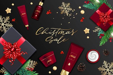Design ad banner for cosmetic catalog. Christmas sale poster Ilustracja