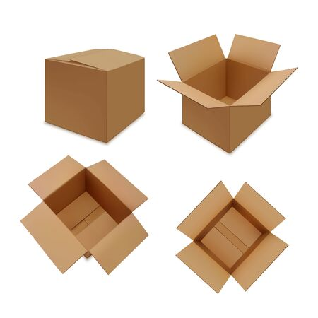 Realistic brown carton open and close boxes set Ilustracja