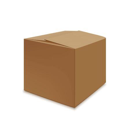 Realistic brown carton close box