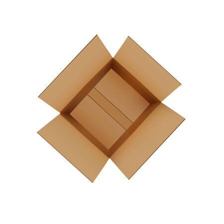Realistic brown carton open box Ilustracja