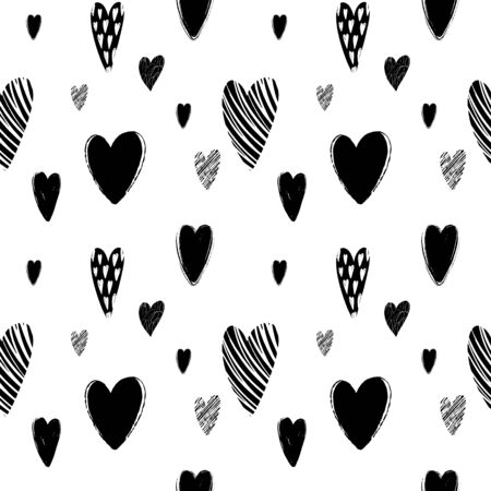 Seamless pattern with handdrawn texture hearts for fabric, background, postcard, wallpaper, paper. Vector illustration pattern. Hearts backgraund