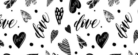 Horizontal pattern with handdrawn texture hearts backgraund for fabric, background, postcard, wallpaper, paper. Vector illustration pattern. Panorama Ilustracja
