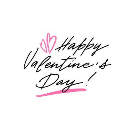 Happy Valentines Day greeting card. Postcard with a unique lettering for Valentines Day. Vector illustration with isolated elements